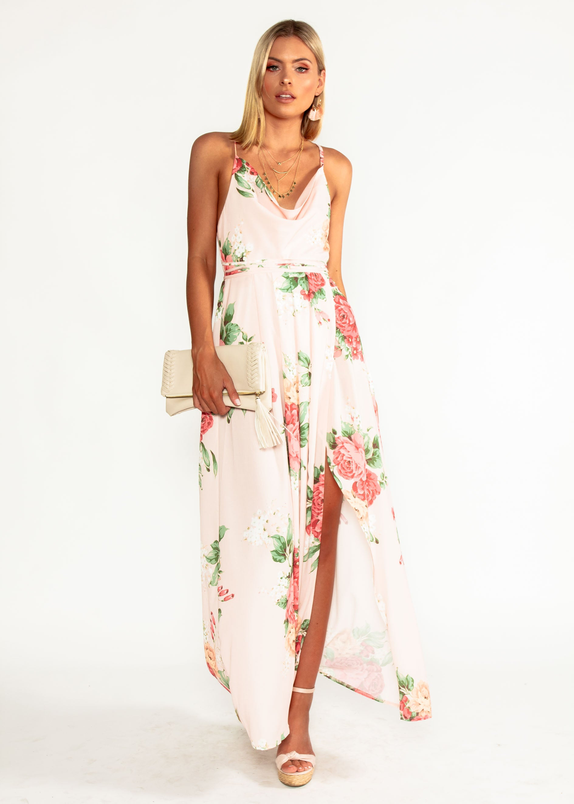 Sienna Halter Maxi Dress - Peach Floral