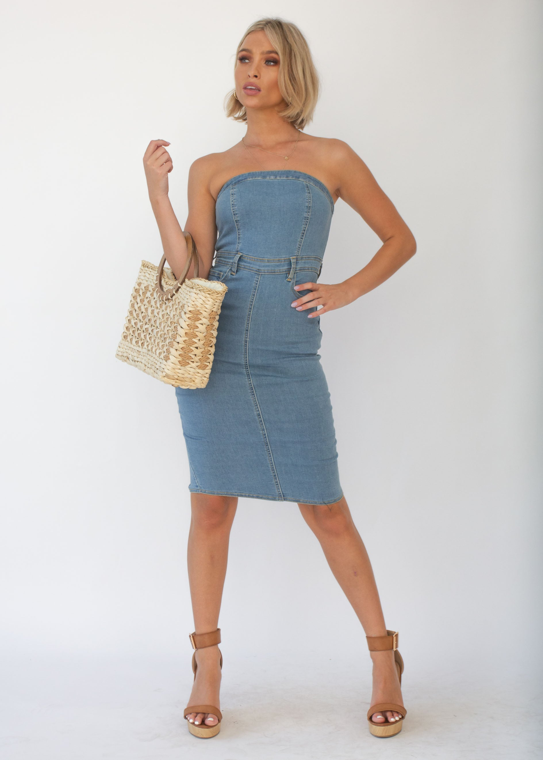 Rhodes Strapless Dress - Light Denim