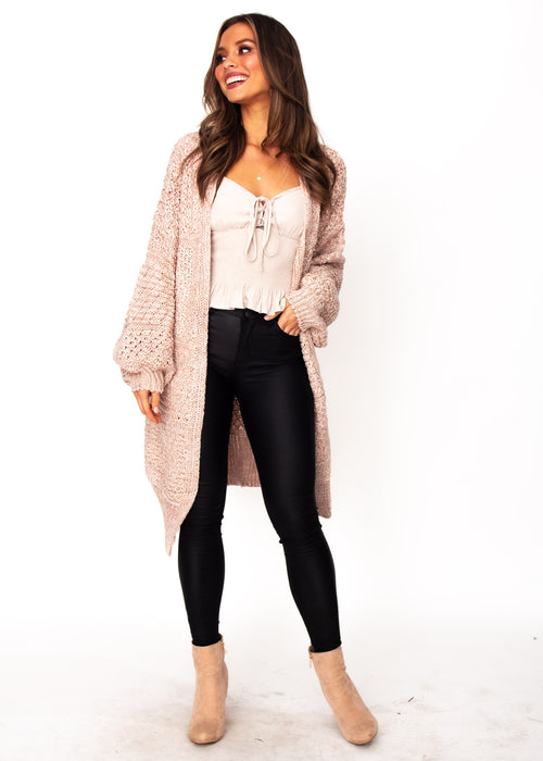 Jupiter Chunky Cardigan - Blush