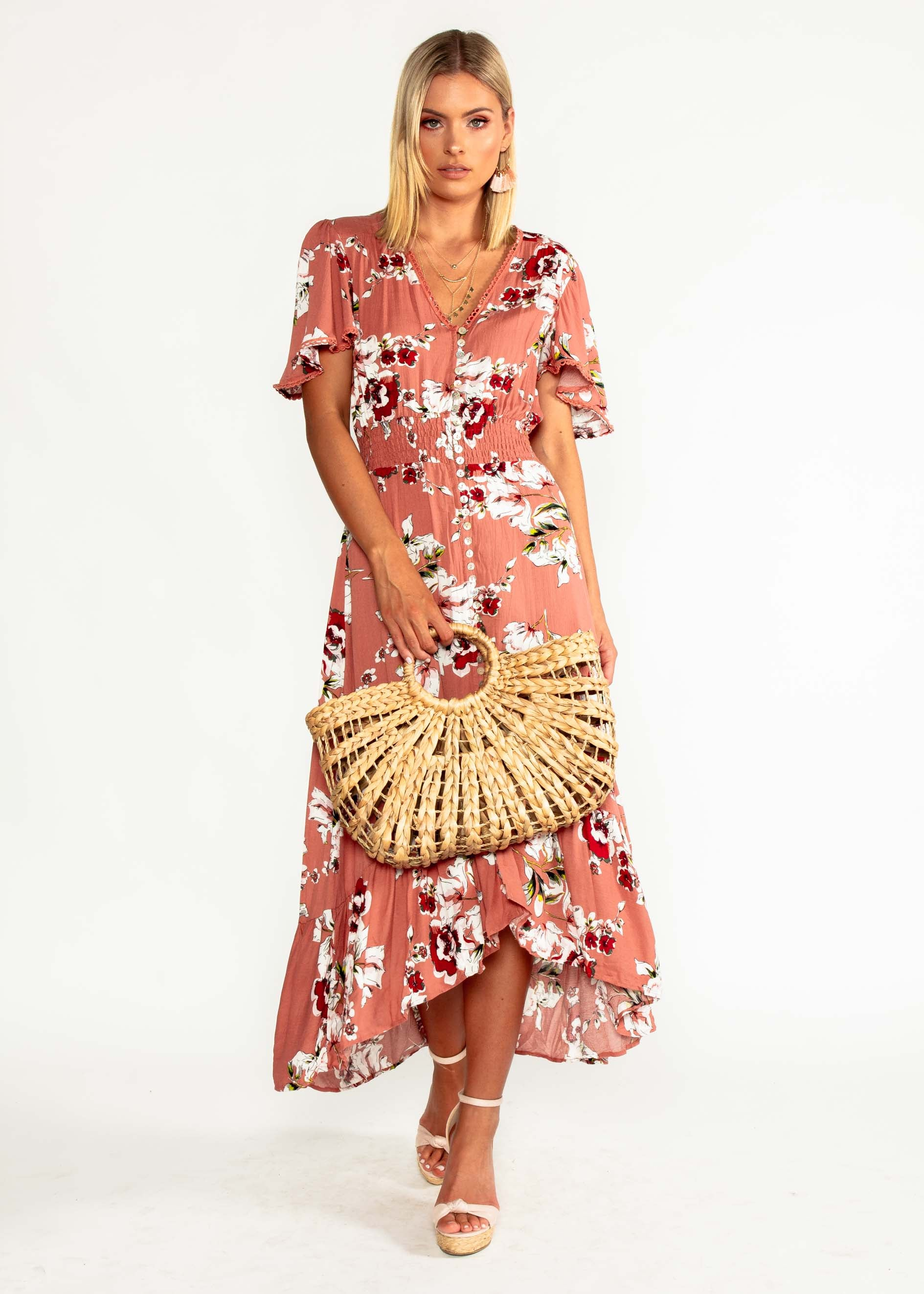 Leaving California Midi Dress - Rose Floral