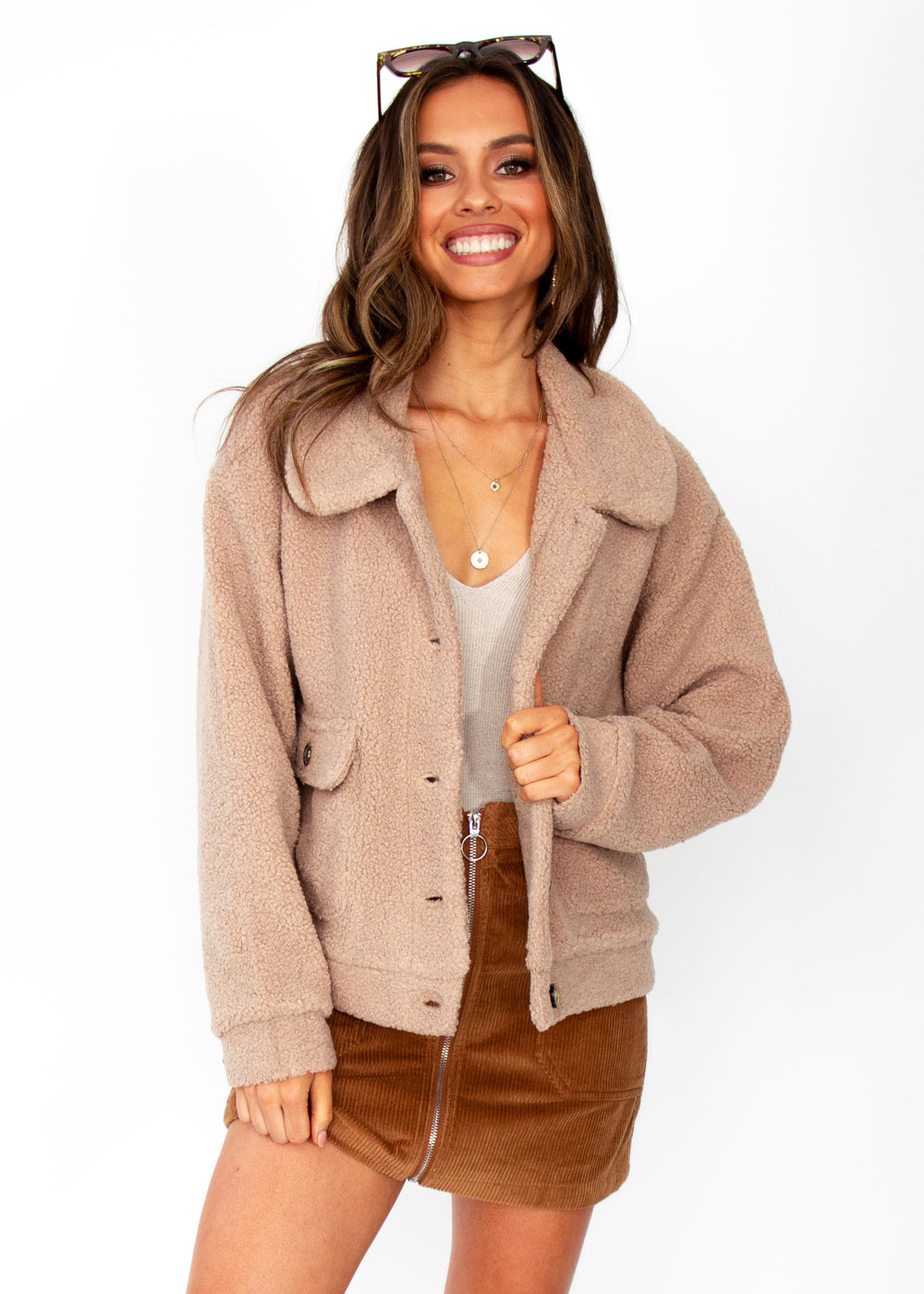 Women's Arlo Teddy Jacket - Tan