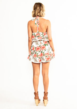 Eleni Halter Playsuit - Red Paradiso