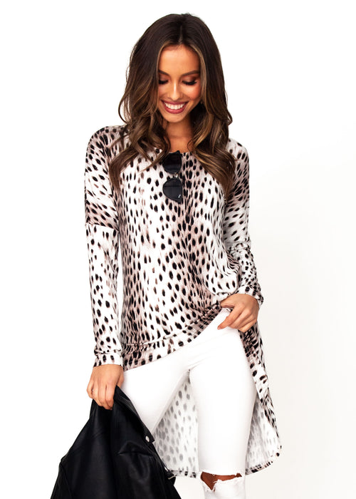 Women's Adalyn Jersey Hi-Lo Top - Leopard