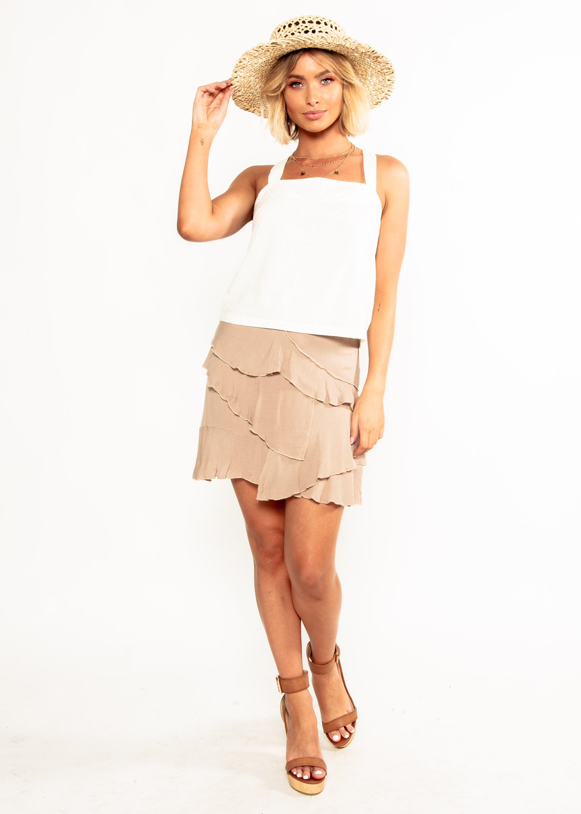 Golden Bloom Skirt - Mocha