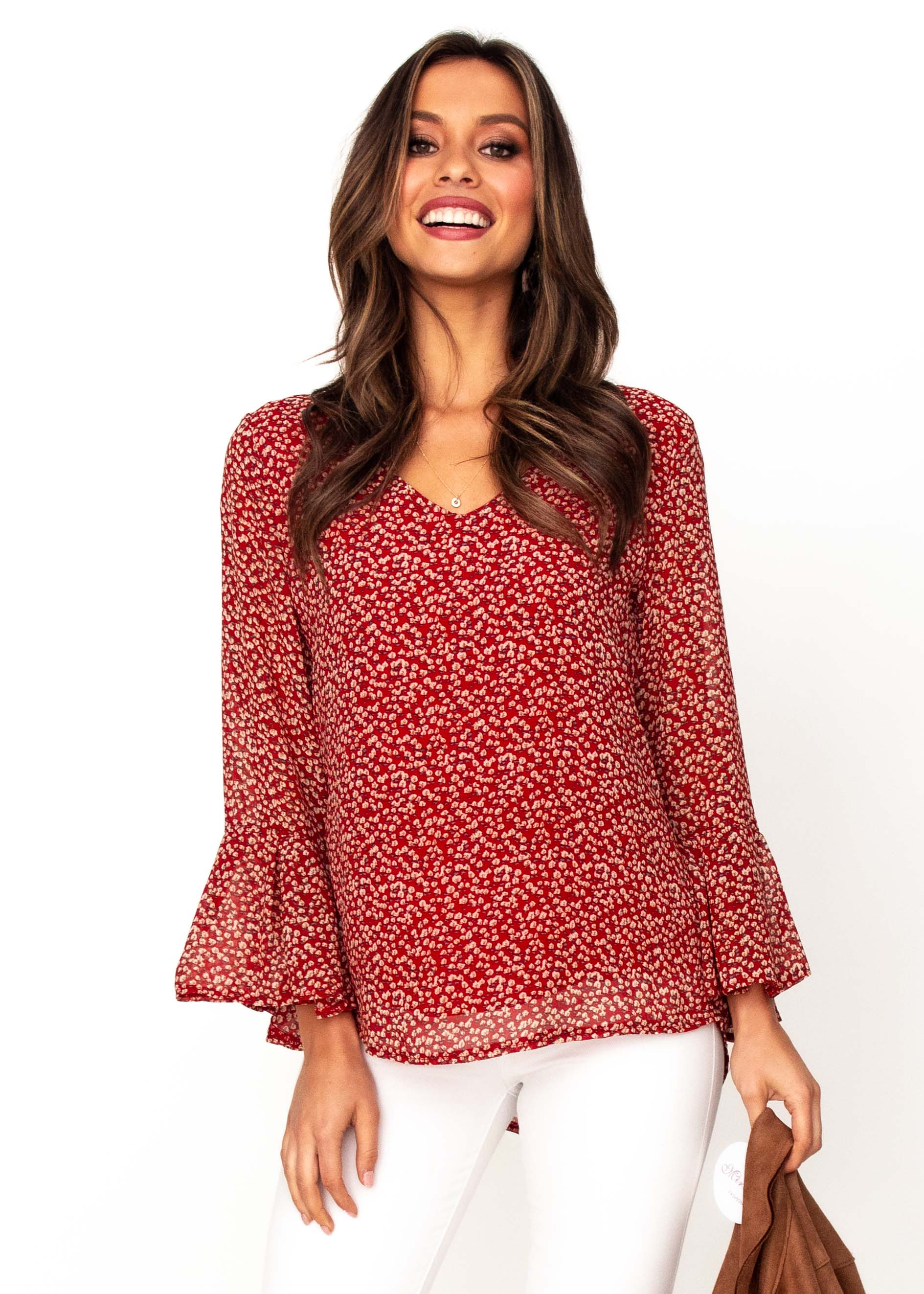 Women's Mahika Blouse - Red Floral