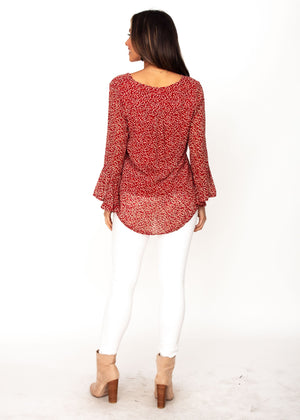Mahika Blouse - Red Floral