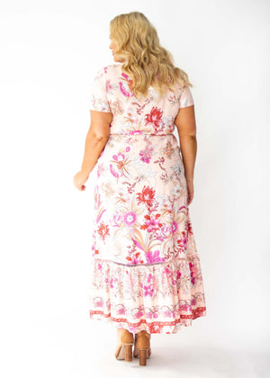 Mabel Tie Maxi Dress - Soft Peach Floral