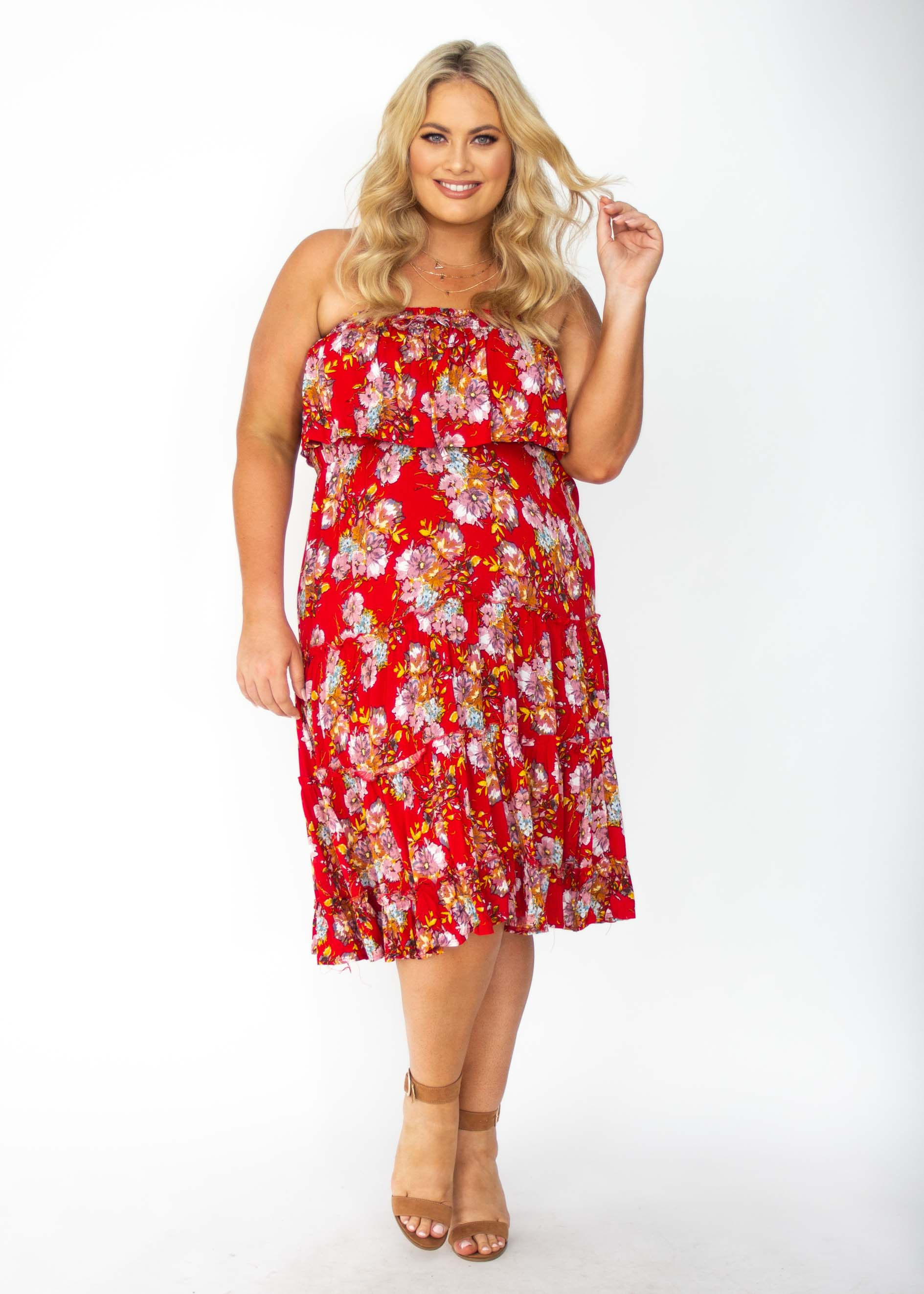 75d19f70de Emery Strapless Midi Dress - Red Floral – Gingham and Heels