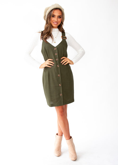 Heartline Cotton Dress - Forest Green