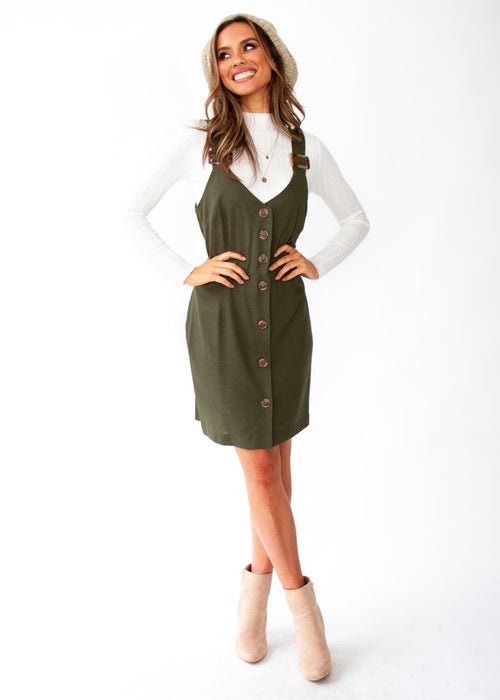 Women's Heartline Cotton Dress - Forest Green