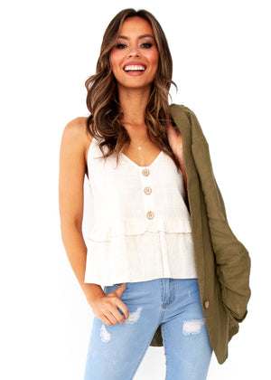 Women's Love Maze Linen Cami - Natural
