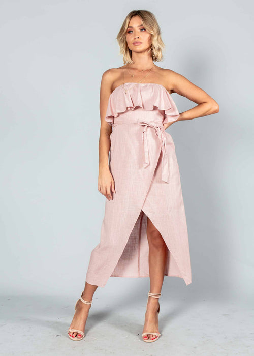 Quinn Strapless Midi Dress w/ Tie - Blush