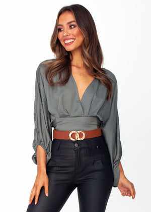 Women's Breezy Cropped Blouse - Khaki