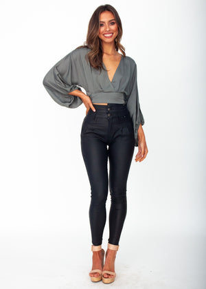 Breezy Cropped Blouse - Khaki