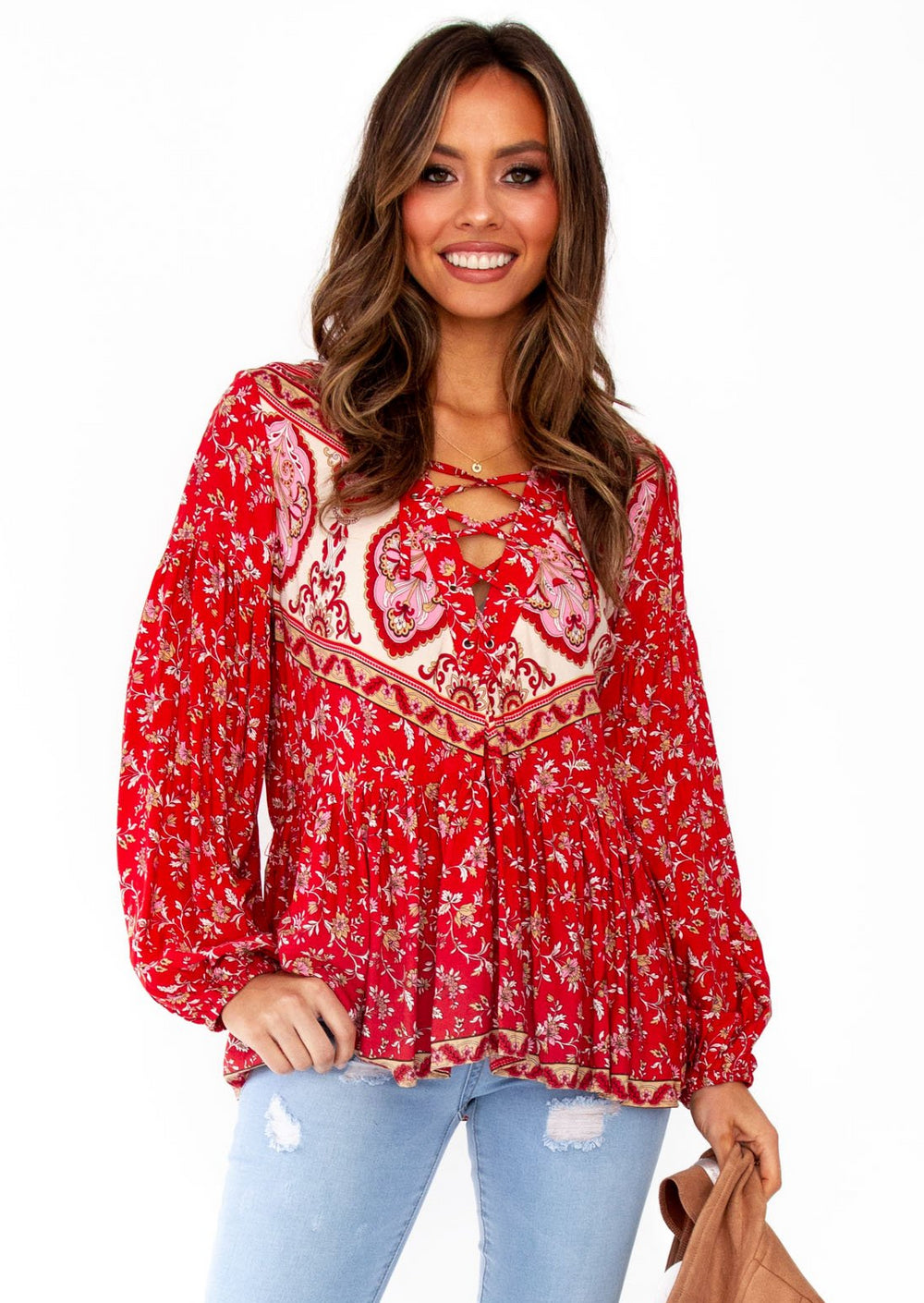 Women's Calm Waves Boho Peasant Blouse  - Mumbai - Red Floral
