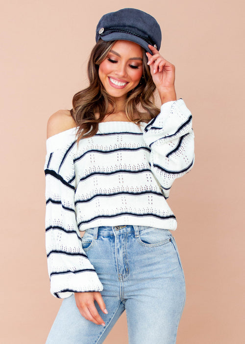 Women's Lilian Sweater - Cream/Black Stripe