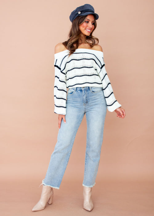 Lilian Sweater - Cream/Black Stripe
