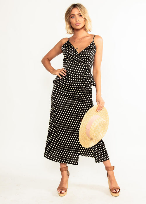 No Ordinary Love Midi Dress - Black Polka
