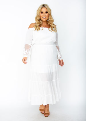 Peasant Fairy Off Shoulder Boho Maxi - Plus Size White Dress - Jaase