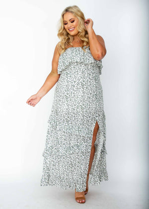 Bexley Strapless Plus Size Maxi Dress - White Vine Print