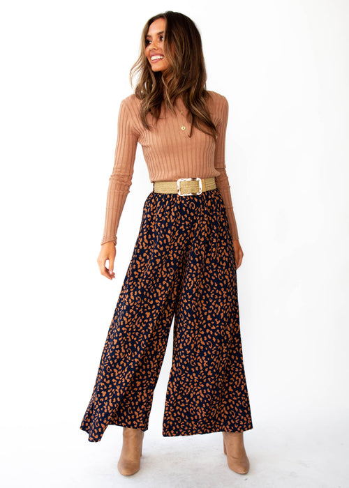 Women's Summertime Magic Pants - Navy Leopard Print
