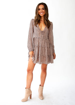 Fancy That Swing Dress - Nude Leopard Print