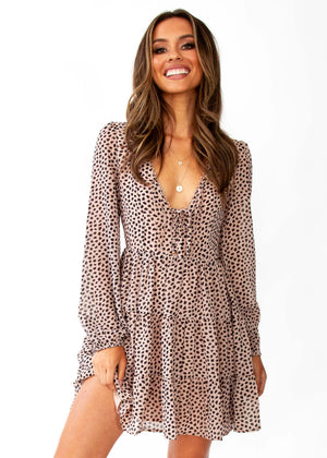 Women's Fancy That Swing Dress - Nude Leopard Print