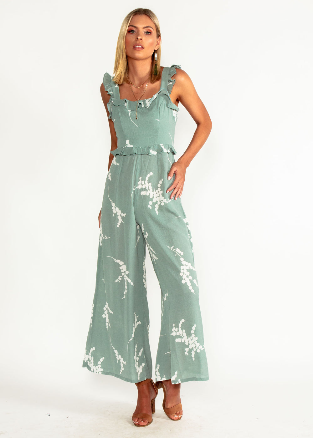 Style Update Pantsuit - Sage Floral