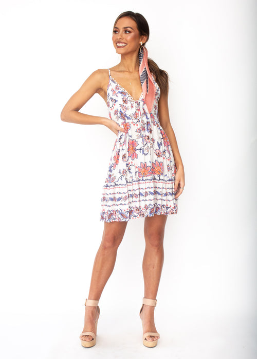 Florence Swing Dress - White Floral