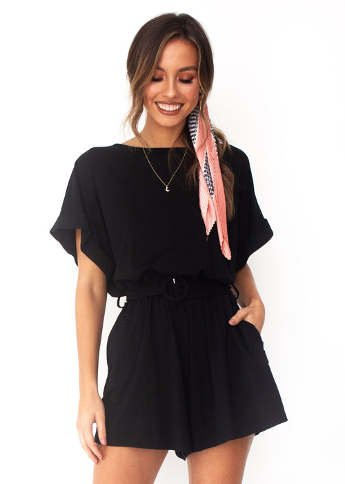 Piece Of Me Playsuit - Black