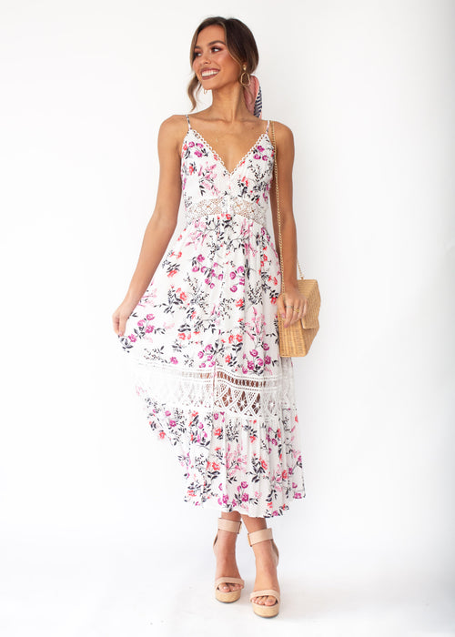 Emersyn Midi Dress - White Floral