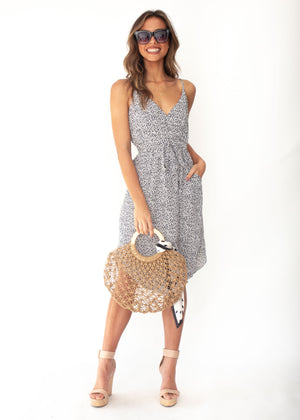 Love No More Midi Dress - White Dot Print