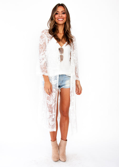 Lotus Haze Lace Cape - White