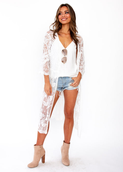 Women's Lotus Haze Lace Cape - White