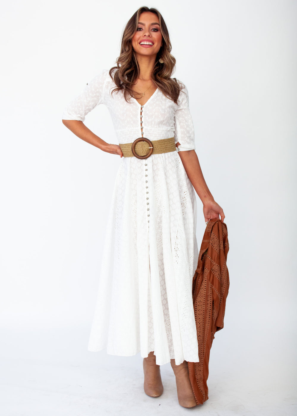 New Romantics Maxi Dress - White Anglaise - Jaase