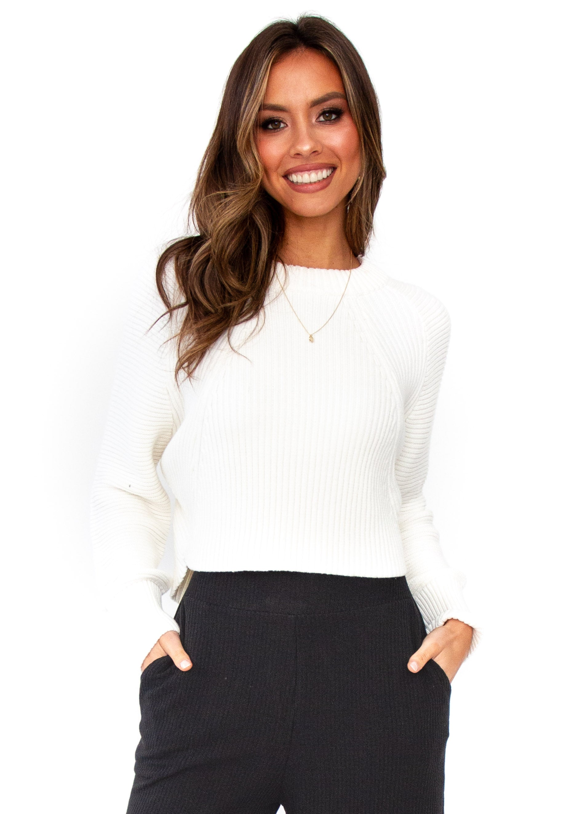 Kelsea Cropped Sweater - Cream