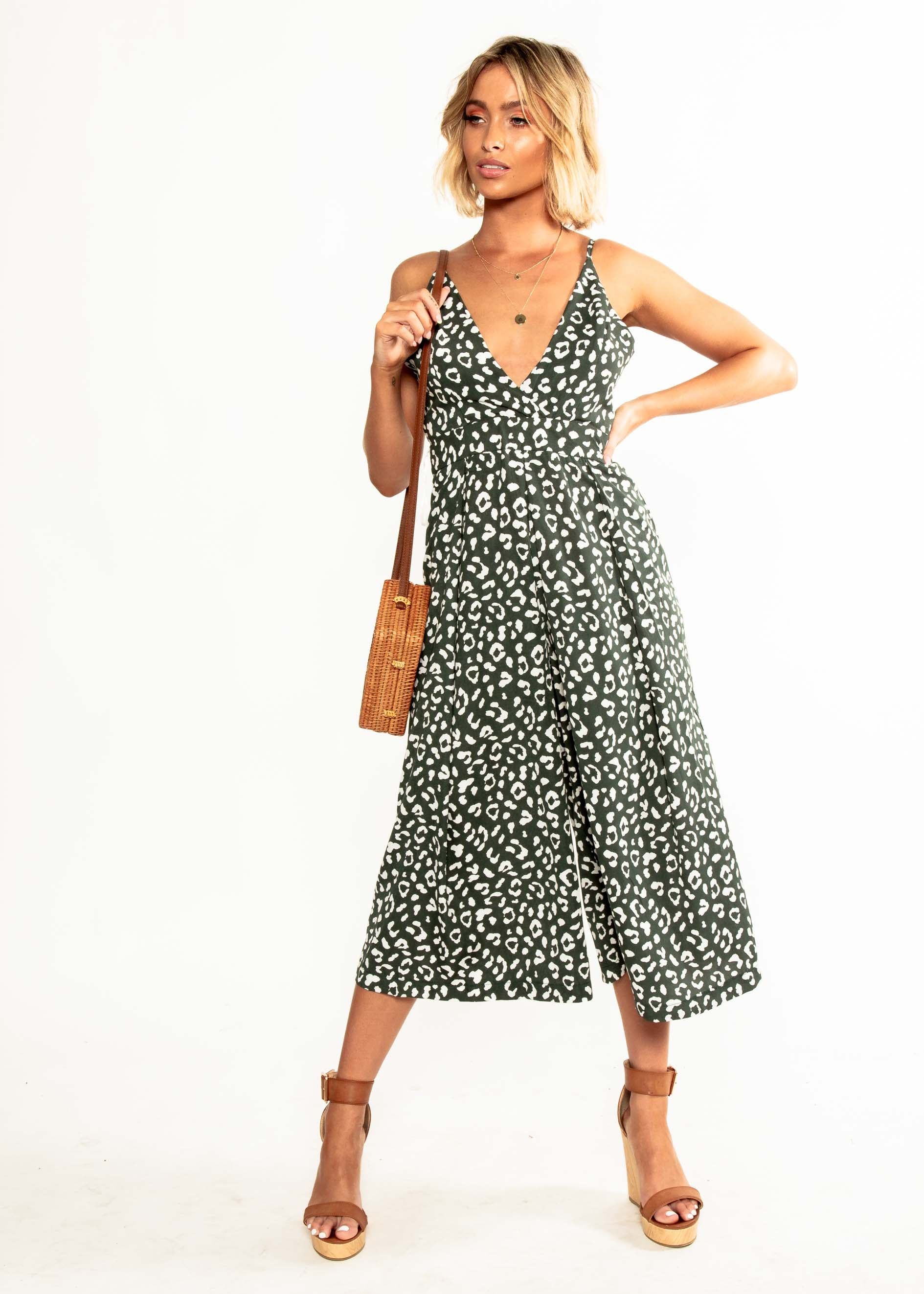 Your Muse Pantsuit - Emerald Leopard