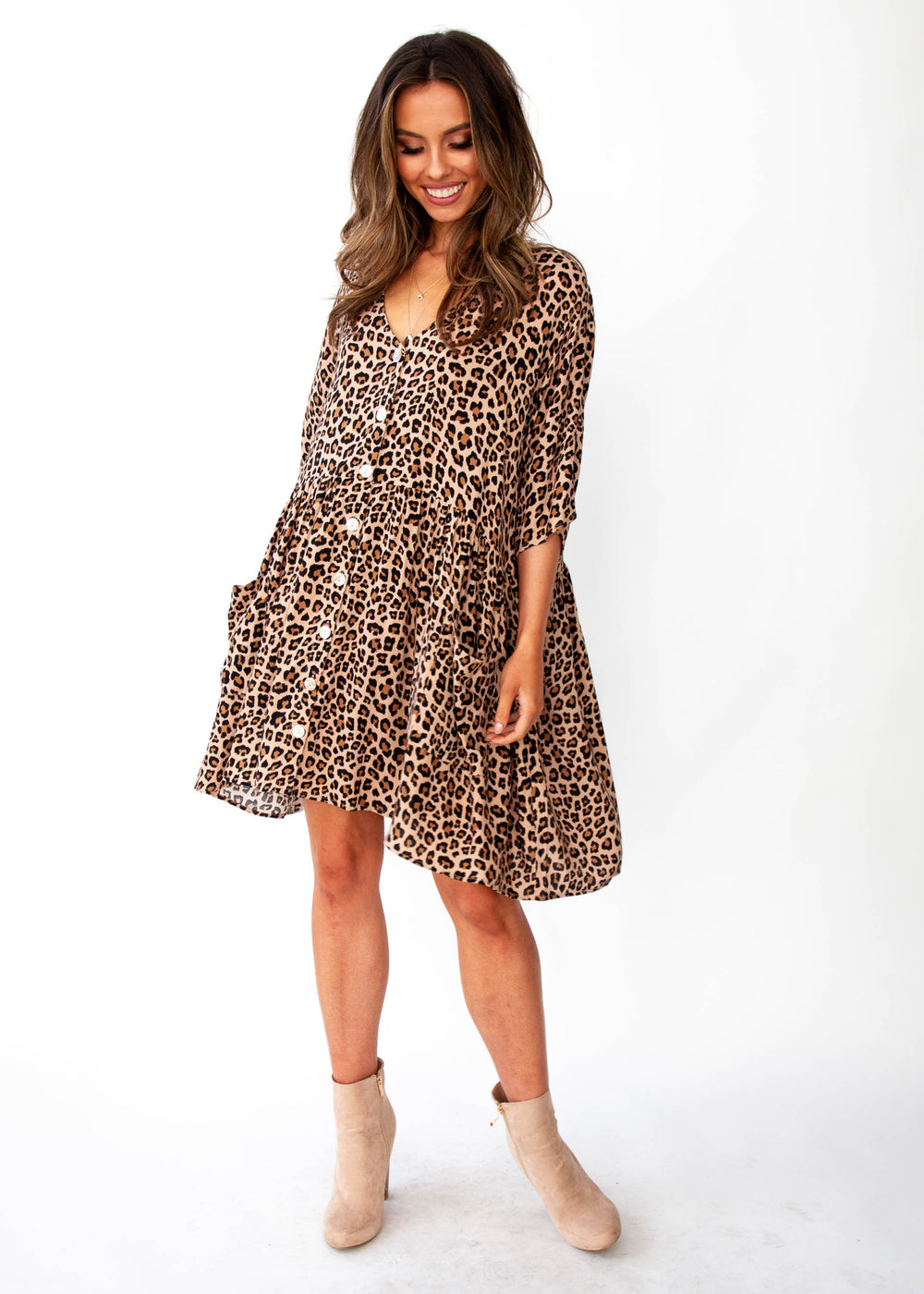 Women's Cut The Light Smock Dress - Leopard Print