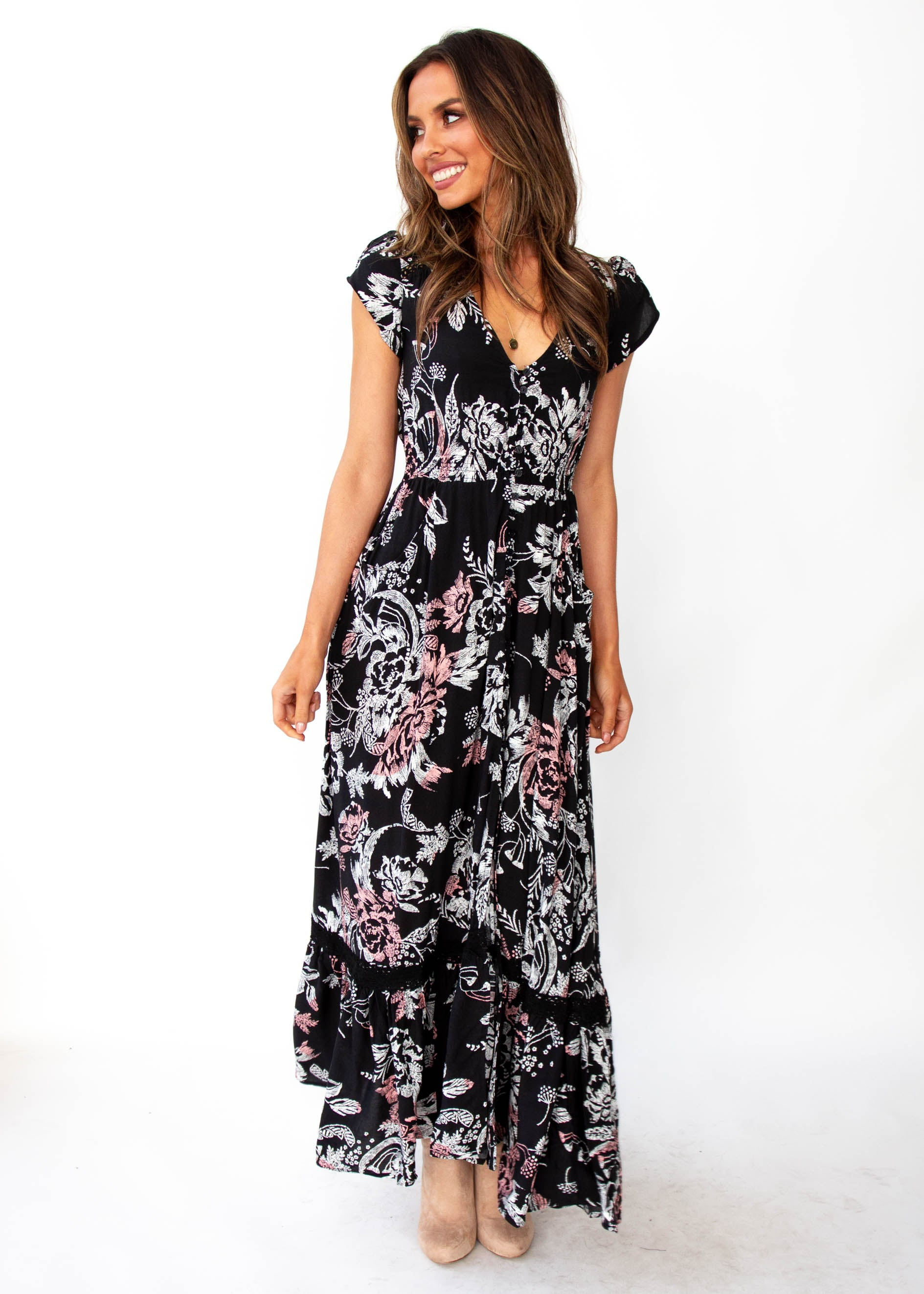 Women's Carmen Maxi Dress - Night Rose - Jaase