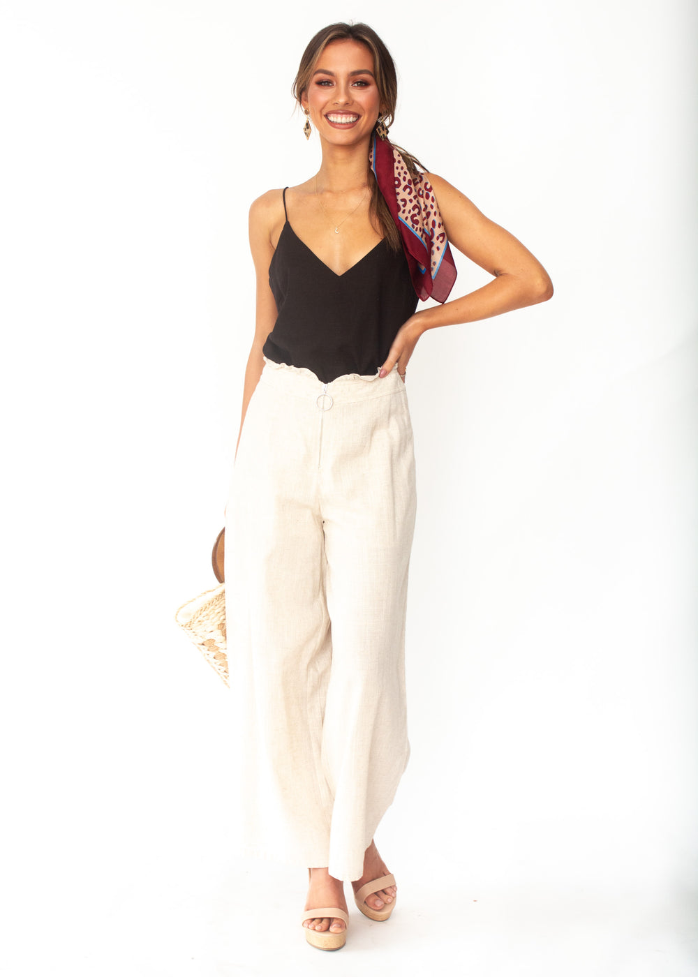 Women's Byron Linen Wide Leg Pants - Natural