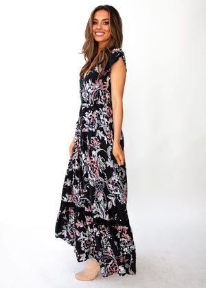 Carmen Maxi Dress - Night Rose
