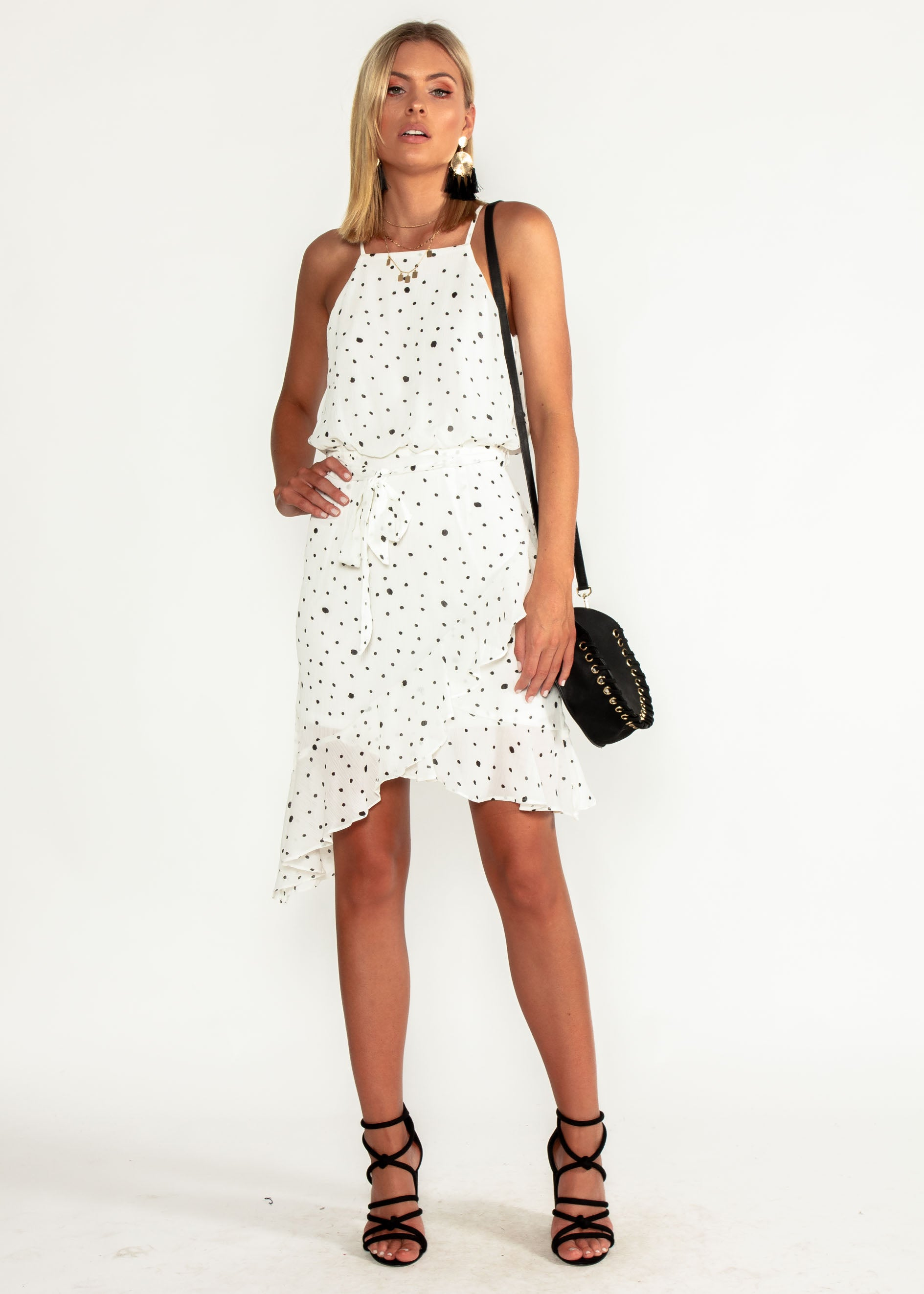 Thalia Chiffon Dress w/ Tie - White Spot
