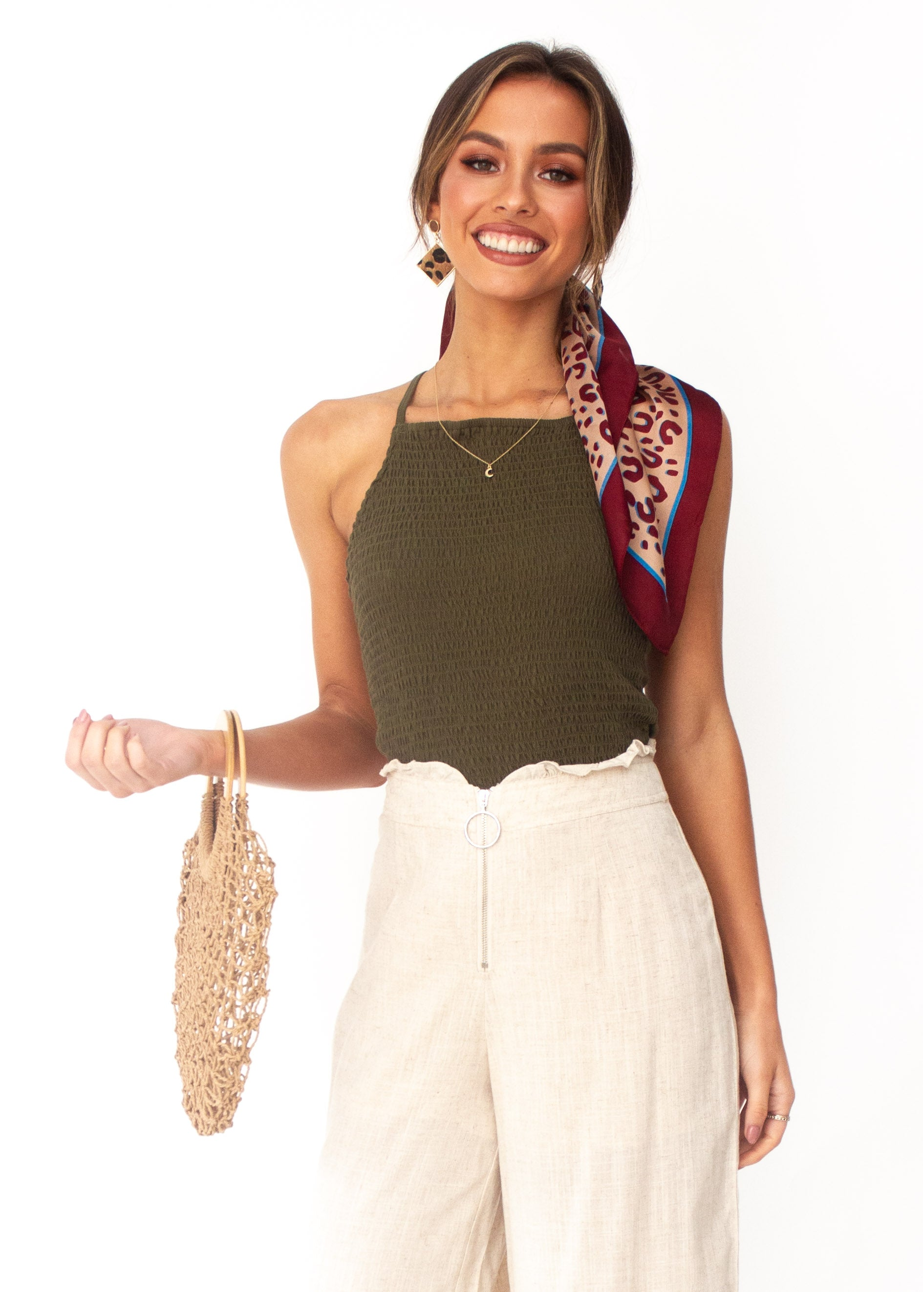 Women's Cecilia Crop Top - Khaki