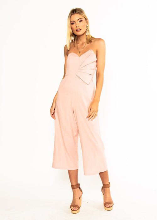 Rapid Fire Linen Strapless Pantsuit - Peachy