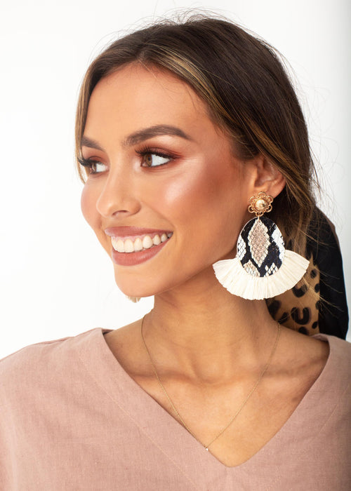 Women's Kassia Earrings - Cream Snake Print
