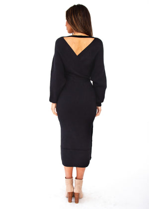 New York Cues Knit Midi Dress - Black