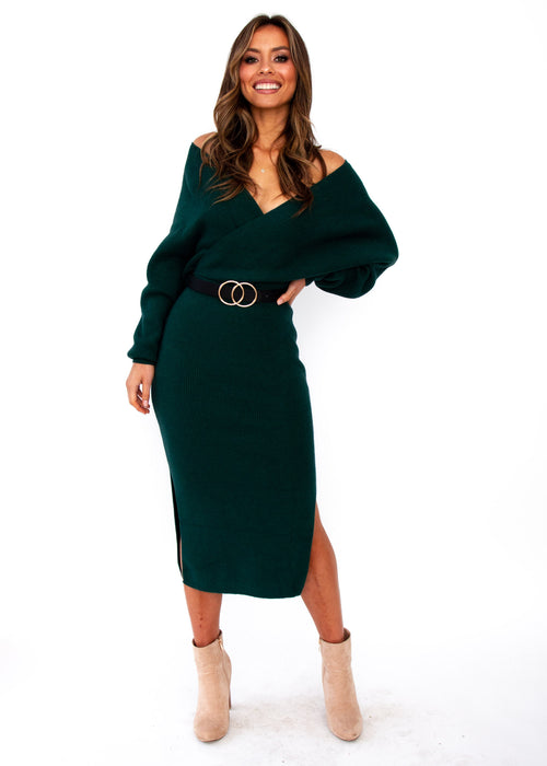 New York Cues Knit Dress - Emerald