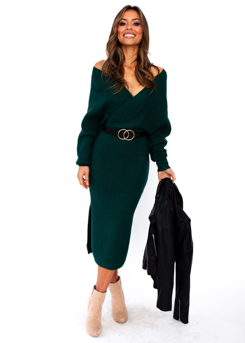 Women's New York Cues Knit Dress - Emerald