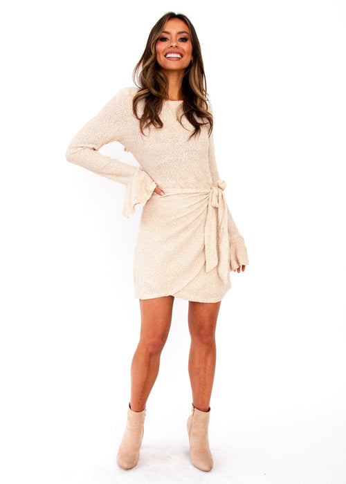 Tonal Nights Dress - Beige
