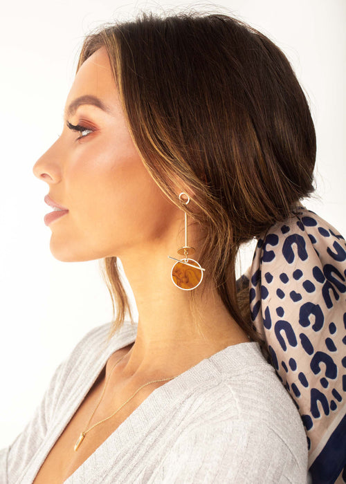 Fool For You Earrings - Tan Marble